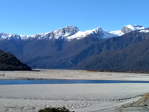 The Haast River winds its way towards the coast