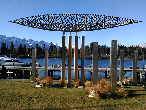 Sculpture on the shores of Lake Wakatipu Queenstown