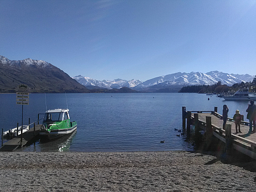 This is the jetty opposite the shopping centre in Wanaka. When you stand on it you can see huge trout swimming below!