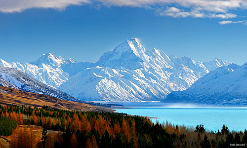 Looking across Lake Pukaki towards Mt Cook  (yes those colors are accurate!). Thanks to Rob Suisted for the amazing pic.
