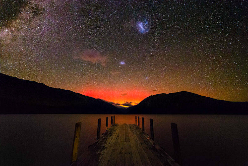 The Aurora Australis viewed from Lake Rotoiti in Nelson Lakes National Park - pic by Mikey MacKinven