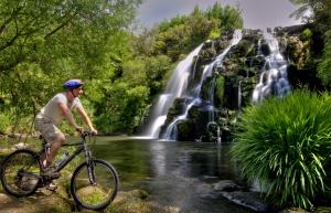 Biking at Owharoa falls picture courtesy Tourism Coromandel