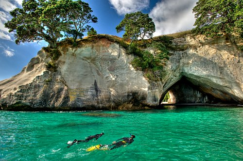 Snorkel in the clear waters near Cathedral Cove - pic courtesy Tourism Coromandel