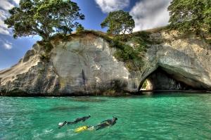 Snorkelling at Cathedral Cove picture courtesy Tourism Coromandel