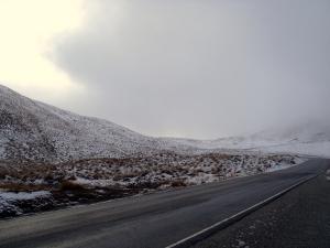 Snow on the Crown Range between Wanaka and Queenstown