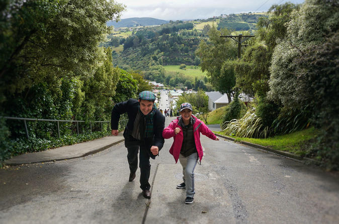 Walking up Baldwin Street on the Iconic Half Day Tour Dunedin - click for more information