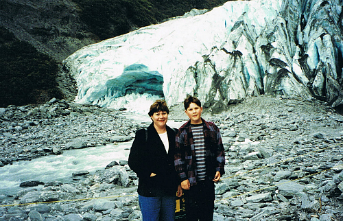 Kim and Tim at Franz Josef, way back in 1998