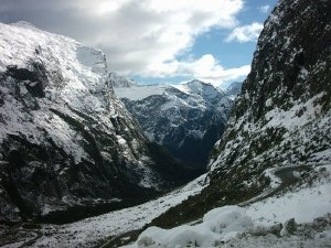 Looking from the Western entrance of the Homer Tunnel - picture courtesy Ingolfson.