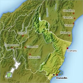Map of Dunedin and Coastal Otago