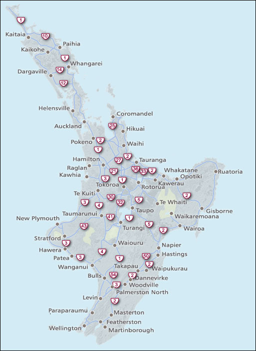 North Island State Highways map