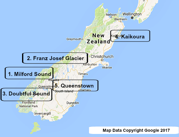 South Island Top 5 Map