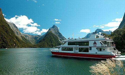A tour boat on magnificent Milford Sound - image courtesy Tourism Holdings
