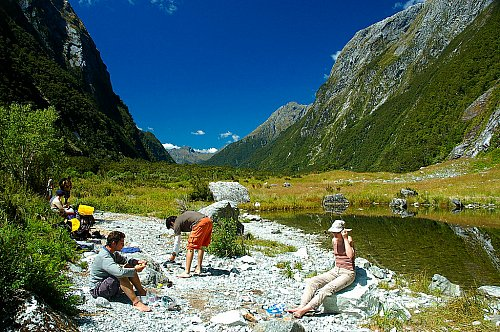 Taking a break on the Milford Track - our thanks to Wuhte for the image