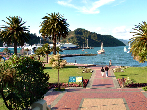 Waterfront in Picton at the top of the South Island. Located in the Marlborough Sounds, Picton is the northern gateway to the South Island.