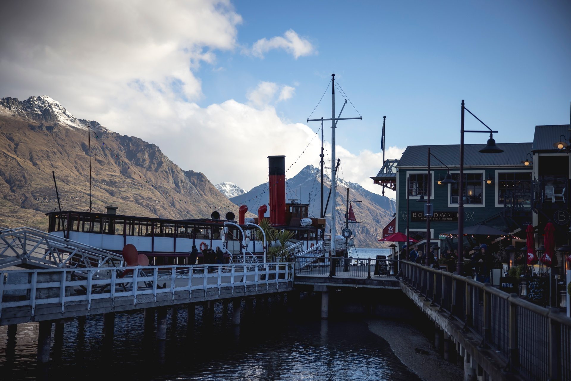 The historic TSS Earnslaw at dock in Queenstown. Image courtesy TNZ and Miles Holden