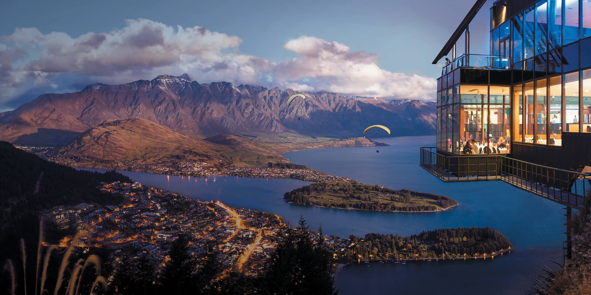 Dining high above Queenstown at the Stratosfare restaurant on Bob's Peak.