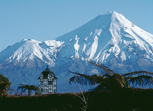 The Glockenspiel Clock Tower New Plymouth with Mt Taranaki in the background - pic courtesy Rob Tucker