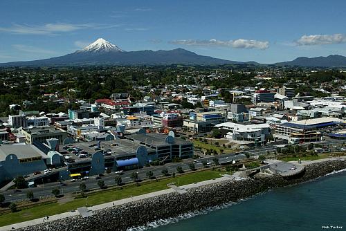 New Plymouth with Mt Taranaki in the background - pic courtesy Rob Tucker