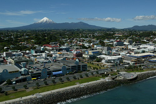 What a location. New Plymouth with Mount Taranaki in the background