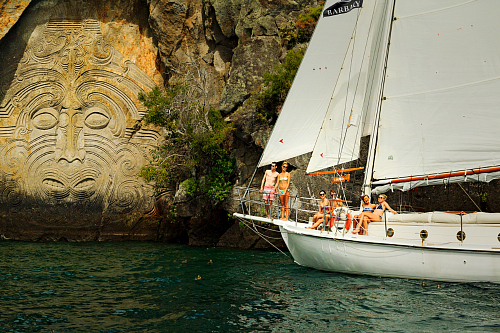 Maori carvings on Lake Taupo - pic courtesy Adam Bryce