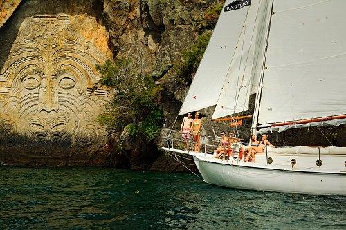 Maori rock carvings at Mine Bay - pic courtesy Adam Bryce