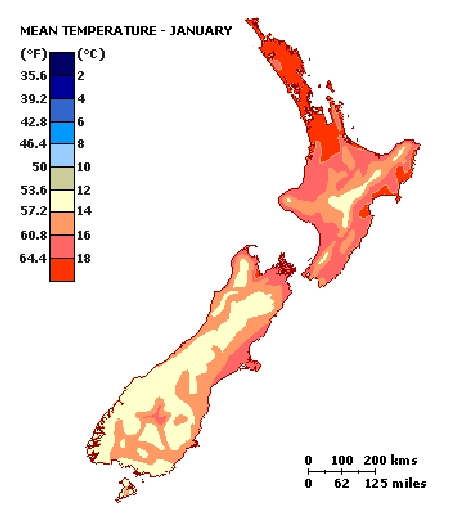 Map mean temp January