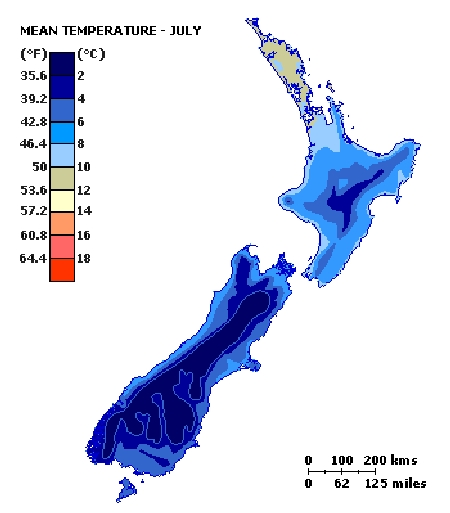 Map mean temp July