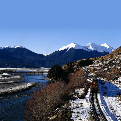 The Tranz Alpine train makes its way through the central South Island to the West Coast