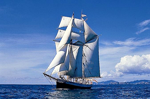 Cruising the pristine Bay of Islands on the tall ship R Tucker Thompson