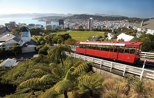 The famous Wellington Cable Car makes its way up Kelburn Hill - pic courtesy Ian Trafford